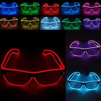 doğum günü partisi gözlükleri toptan satış-LED Parti Gözlük Moda EL Tel gözlük Doğum Günü Cadılar Bayramı partisi Bar Dekoratif tedarikçi Aydınlık Gözlük Gözlük WX-G03
