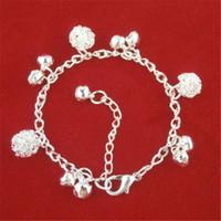 sterling glocken armband großhandel-National Style 925 Sterling Silber Kette Armband Fußkettchen Bangles Modeschmuck Silber Bola Bell Charms Armband