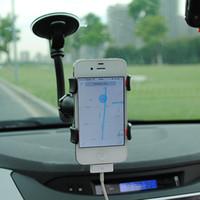 держатель телефона гибкий кронштейн оптовых-Универсальная длинная рука 360 градусов вращающийся лобовое стекло автомобиля гибкая присоска держатель стенд поворотный держатель для iphone Samsung LG сотовый телефон GPS