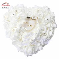Wholesale Heart Shaped Wedding Ring Cushion - Wholesale- Free shipping NEW Elegant Rose Wedding Favors Heart Shaped Design Gift Ring Box Pillow Cushion