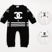 Wholesale Baby Infant Halloween Costumes - 2017 Winter Black Baby Rompers Spring Autumn Letter Baby Costume Cotton Long Sleeve Coveralls O-Neck Infant Baby Clothes JY211