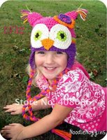 Kind Eule Beanies Kaufen -OWL Häkelarbeit Strickmütze Baby Jungen Mädchen Kinder Beanie Earflaps Winter Cartoon Tier Cap Neugeborenes Kleinkind Kinder Foto Stütze Baumwolle Hut