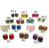 ópalo menina bonito venda por atacado-Moda Glitter Druzy Drusy Quadrado Brinco Dot 14 Cores Banhado A Ouro Pequeno Bonito Shinny Rainbow Opal Ear Stud para As Mulheres Meninas Jóias