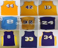 Wholesale Black Magic Player - 2017 Throwback 32 Magic Johnson Basketball Jerseys 44 Jerry West 33 Kareem Abdul-Jabbar 42 Artest Worthy Stitched with player name
