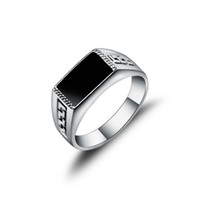 Wholesale Fashion Square China - New Arrival Hight Quality White Gold Plated Jewelry Male Ring Fashion Square Black Enamel Men Rings