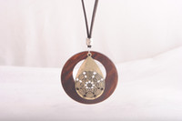Wholesale Indian Wooden Pendants - 2017 new hot necklace national jewelry wholesale drop necklace retro wooden sweater chain pendant rope