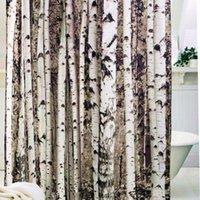 Wholesale Antibacterial Shower Curtain - Wholesale- Birch Tree Shower Curtain Mildew Resistant,Water-Repellent & Antibacterial,with 12 Plastic Rings 72x72inch