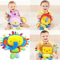Vente en gros- Nouveau-né Baby Rattle Animal Rabbit Monkey Lion Elephant Peluches Jouets Avec Rattles BB Dispositif HandBells Soft Infant Educational Toys