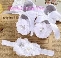 Wholesale Ivory Baby Booties - Wholesale- Ivory newborn Booties christening shoes for baby girl;infant headband set toddler baby shoes ballerina; girls baptism set