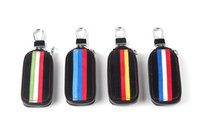 Wholesale Bmw Leather Holder - 1pcs auto truck vehical Car Black m performance power Genuine Leather Remote Key Bag Case Holder Cover For BMW VW