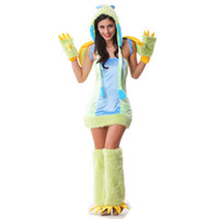 Wholesale Sexy Costume Furry - Sexy Ladies Dinosaur Bird Furry Costume Cute Animal Cosplay Halloween Fancy Mini Dress With Wing Hat