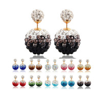 Wholesale Pearls Disco Balls - Genuine Crystal Disco Ball silver earrings Shamballa Stud Earring crystal double - sided pearl candy earrings princess diamond earrings D028