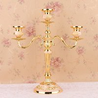 Wholesale New Designs Candle Holders - New Design Candle Holder Home Decoration Holidays Wedding Candle Holders European Style Candlestick Silver Gold JM0265
