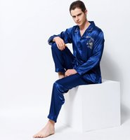 Wholesale Silk Sleepwear Sets - 2017 new Men Satin Silk Pajamas Dragon Embroidery Pyjama Sets Long-Sleeved Luxurious Emulation Silk Sleepwear Pijama 3313