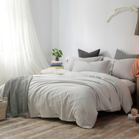 Woven outlet sheets - Soft Cool King Queen Outlet Tencel Pure Silver Gray Linen Cotton Lyocell Quilt Cover Bedding Sheet Pillowcase Bedclothes Bedding Set