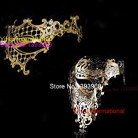Wholesale Couples Masquerade Masks - Wholesale- Black Gold Silver White Phantom Man Woman Venetian Mask Masquerade Metal Couple Masks Skull Face Half Halloween Party Masks