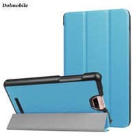 Wholesale Tablet Folder - DOLMOBILE Slim Three Folder Case for 2017 Acer Iconia TalkS A1-734 Tablet Cover Magnet PU Leather Flip Cases + Stylus Pen 50pcs