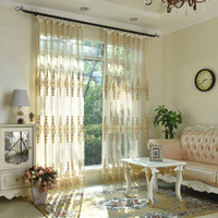 Wholesale Double Voile Lace - New Arrival Lace Sheer Curtains Free Shipping Embroidered Lace Curtain for Girls Bedroom Lace embroidered voile Tulle curtains