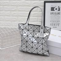 Wholesale Rhombus Beads - Women Luxury Bags Triangle stitching Rubik Cube Bag 6 Lattice Laser Geometry rhombus Laser Shoulder bag217
