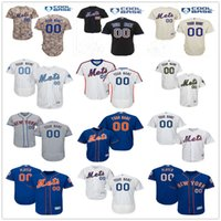 Wholesale Down Xxl - Custom New York Mets Black Blue Gray White Pull Down Authentic Collection Personalized Baseball Jerseys Top Quality Customize