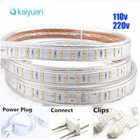 Wholesale Waterproofing Leds Underwater - Hot sale Double Rows AC 110V   220-240V Led Strips 10m   15m 20M 30M Full Kit Waterproof 180 leds m High Brightness Outdoor Underwater TAP