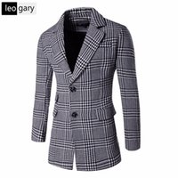 Wholesale Jacket Outerwear Overcoat For Man - Wholesale- 2016 New Style Mens Coats For Men Plaid Fabric Warm Jacket Casual Slim Fit Thickening Outerwear Coat Winter Overcoat