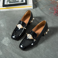 Wholesale Preppy Shoes - Spring Preppy Women's Shoes Patent Leather British Style Rhinestone Decoration Square Toe Fashion Female Loafers Female Flats