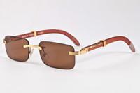 Wholesale Variety Frames - 2017 wooden sunglasses for men women designer sunglasses rimless square a variety of color lenses and aviator frames