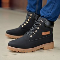 Wholesale Plus Size Rubber Boots - Wholesale-2016 Autumn Winter Fashion New Men Lace-Up PU Leather Shoes Plus Size Mens High-top Casual Men Thick Snow Boots O1365