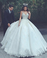 Wholesale Lady Bridal Ball Gown - Luxury In Stock Sexy Custom Made Fat Ladies Wedding Dress Berta Spaghetti Straps Full Lace Appliqued Bridal Gown Dubai Saudi Arabia Vestidos