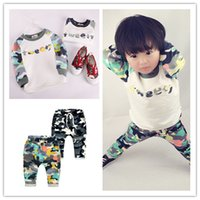 Wholesale Girls Leopard Hoody - 2017 Autumn Kids Camo outfits 2pc set raglan sleeve hoody harem pants Boys girls fashion camouflage pattern pull-over sets casual clothing