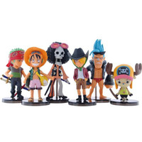 Wholesale One Piece Ships Figurines - Toys 6pcs lot One Piece Mini PVC Action Figures The 24th Generation Model Collection Toy Figurine Free Shipping