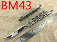 Wholesale Mirror Hunting - butterfly balisong The one BM40 BM42 BM43 BM47 4 MODELS Mirror Editio jilt knife Free-swinging survival hunting knife 1pcs