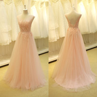 Gorgeous Brautkleider Echtes Baby Pink Boat Neck Sexy Backless A Linie Appliques Spitze Perlen Lange Formal Abendkleid