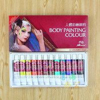 Wholesale 12 Colors Safe Non Toxic Face Body Painting Color Pigment Temporary Body Paint Art For Color Run World Cup Parties Makeup Tools