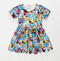 Wholesale Micky Mouse Clothes - kids girls dresses Lovely Micky Mouse Minnie tutu print back hollowed Dress Baby Clothes Kids clothing