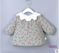 Wholesale Dolls Coats - Toddler kids Winter outwears Baby girls Velvet printed cherry coats infants doll lapel buttons back outwears Baby girls cute clothes C1458