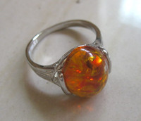 Wholesale New Tibetan Tibet Silver - NEW Free shipping beautiful tibetan silver with yellow amber ring fashion jewelry wholesale and retail