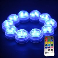 Wholesale underwater led tea lights - LED Submersible Waterproof Tea Lights Candle underwater lamp remote control colorful Wedding Party Indoor Lighting for fish tank pond Aquari