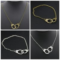 Wholesale Freedom Handcuff - Freedom Engraved Handcuffs Pendant BFF Friendship Necklace Bracelet Set Vintage Ancient Bronze Silver Theme Clavicle Chain