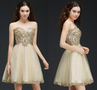 Wholesale Vintage Corset Mini Dress - 2018 Champagne Lace Beaded Short Tulle Homecoming Dresses Sweetheart A Line Corset Back Cocktail Party Gowns Cheap In Stock CPS665