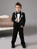 Wholesale Images Gold Rings - High quality Luxurious Black weding ring bearer suits Boys Tuxedo With Black Bow Tie kids formal dress fashion kids suits