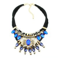 Wholesale Gemstone Resin Statement Choker Necklaces - AAA Blue Austrian Crystals Chokers Necklace Vintage Gemstone Statement Necklaces Free Black Braided Rope Chain Necklaces