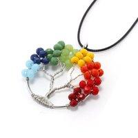 Wholesale Necklace Leather Energy - Natural Gem Stone Gravel Beads Round Tree Of Life Winding Reiki Pendulum Pendant Charms Energy Health Amulet leather Necklace C185S