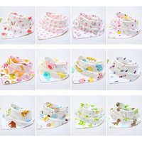 Wholesale Children Scarfs Triangle - Hot Sale 5 PCS Cotton Double Sided Baby Lunch Bibs Bandana Saliva Towel Kids Dribble Drool Catcher Children Triangle Head Scarf 28 Colors