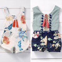 Wholesale Kids Coveralls Wholesale - Kids clothes Rompers Jumpsuits Summer baby piece pants fashion girl clothing sleeveless round neck shorts flower printing coveralls 970
