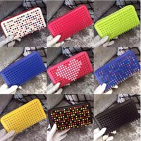 Wholesale Studded Leather Purses - Free shipping Mixed Color Rivets Wallet Genuine Leather Spike Purse Brand Designer Studded Clutch Lady's Fashion Rivets Purse with Zipper