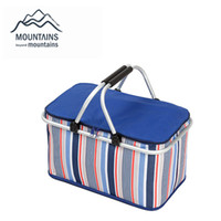 Wholesale meat bags - Wholesale- 32L Large Ice Bag Folding Picnic Insulated Bag BBQ Meat Drinks Cooler Bag Folding Basket for Holidays Parties Picnic Grill