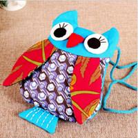 Wholesale Child Cloth Cotton Fabric - Yunnan ethnic wind owl Messenger bag cartoon cloth children gifts ethnic cloth multi-color