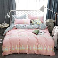Wholesale Grey Pattern Duvet Cover - Cute pink duvet cover set with duck pattern,100% cotton grey bed sheets pillow case queen size bedding set for adults bedding